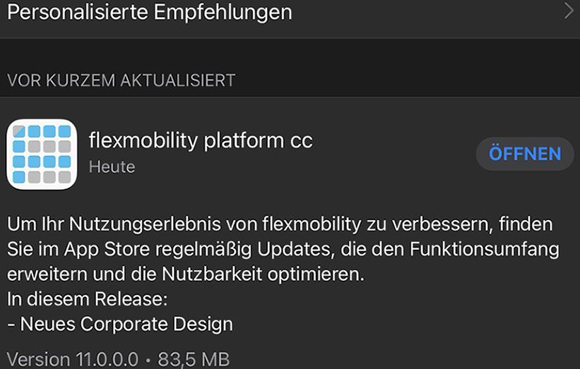 Business Apps Konfiguration flexmobility platform - App Update AppStore